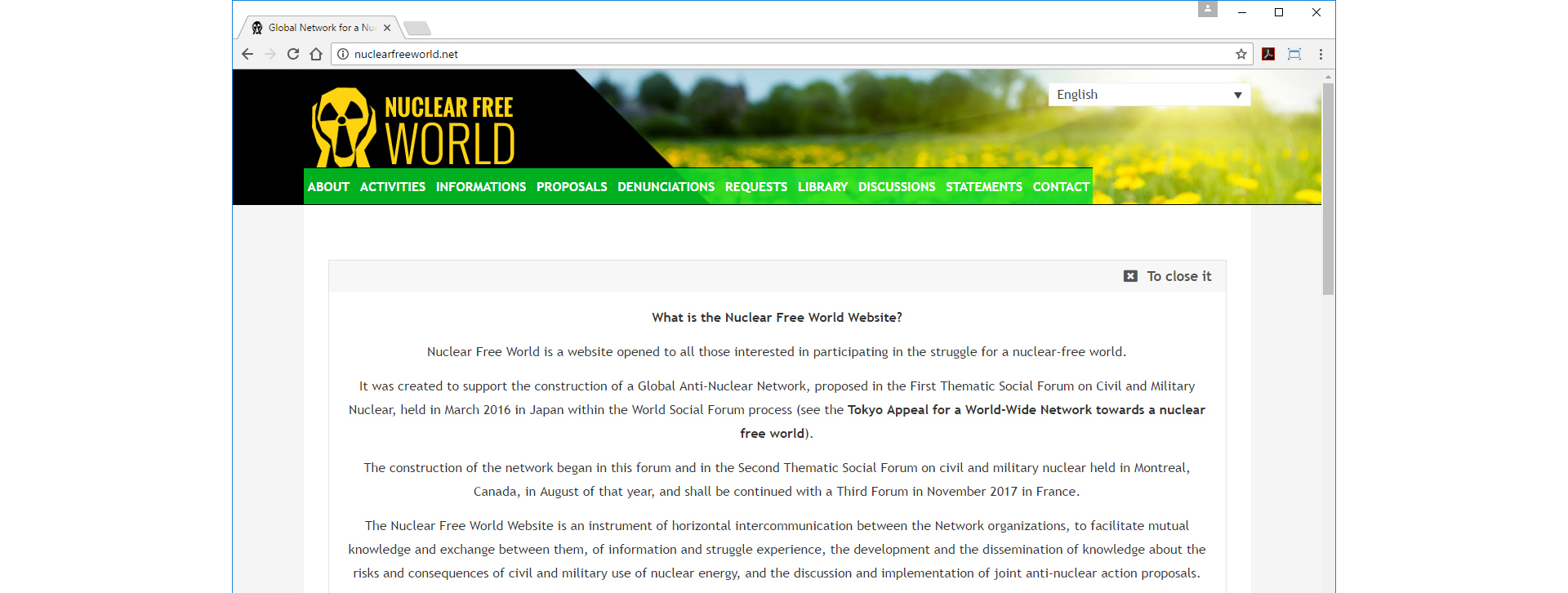 Nuclear Free World Website